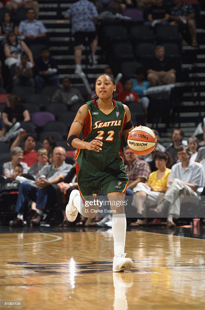 Betty Lennox of the Seattle Storm drives against the San Antonio Silver Stars during the game at the SBC Center on on June 19 2004 in San Antonio...