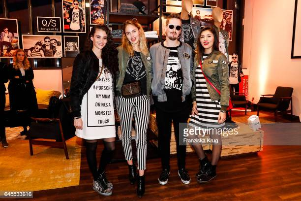 Betty Taube Elena Carriere Robin Schulz and Anna Maria Damm attend the 'Robin Schulz The Movie' world premiere at Cinemaxx on February 24 2017 in...