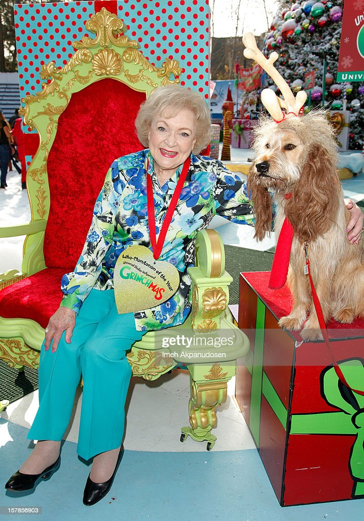 Betty White accepts the 'Who-Manitarian' award as Universal Studios Hollywood celebrates 'Grinchmas' held at Universal Studios Hollywood on December 6, 2012 in Universal City, California.