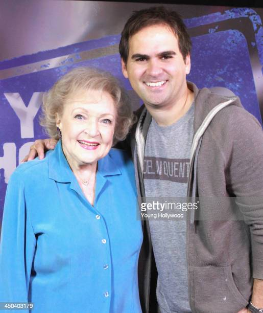 Betty White and host RJ Williams at the Young Hollywood Studio on November 17 2013 in Los Angeles California