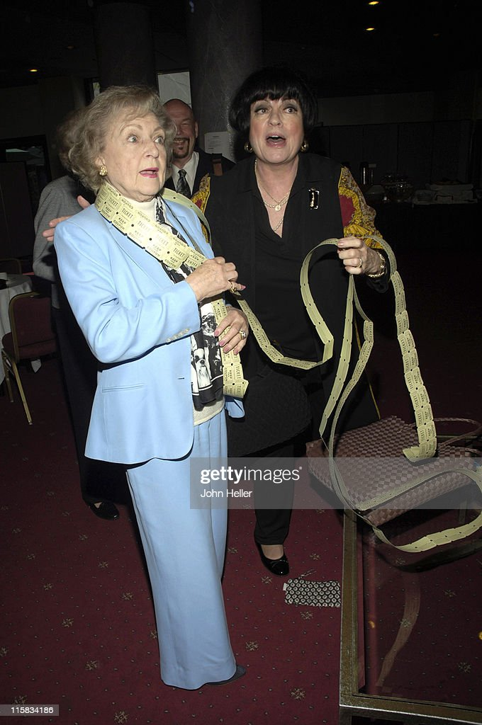 Betty White and Jo Anne Worley with raffle tickets for todays roast