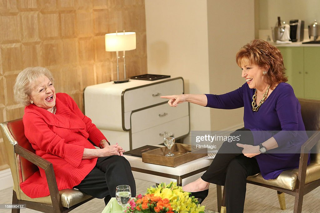 Betty White and Joy Behar attend the Joy Behar Set Photography For Current TV at The London Hotel on January 2, 2013 in West Hollywood, California.
