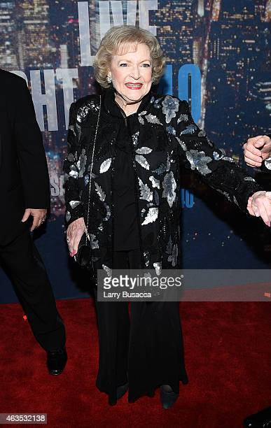 Betty White attends SNL 40th Anniversary Celebration at Rockefeller Plaza on February 15 2015 in New York City