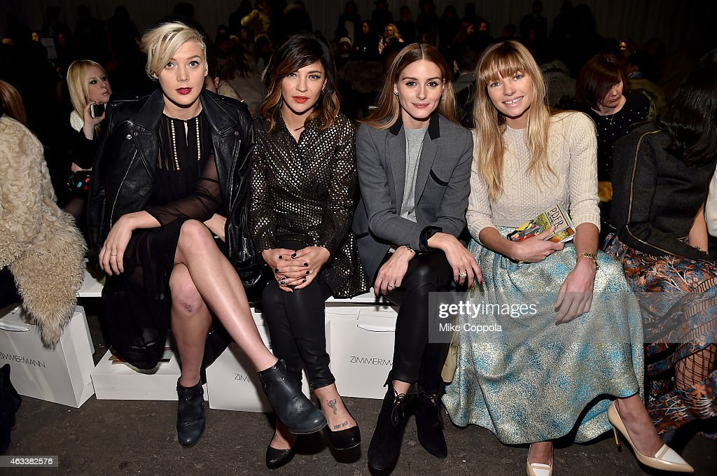 Betty Who Jessica Szohr Olivia Palermo and Jessica Hart attend the Zimmermann fashion show during MercedesBenz Fashion Week Fall 2015 at ArtBeam on...