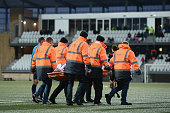 Betuel Hansen of Faroe Island is brought off on a stretcher as he suffers an injury during the 2017 UEFA European U21 Championships Qualifier between...