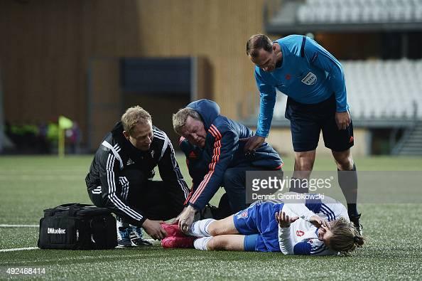 Betuel Hansen of Faroe Island reacts as he suffers an injury during the 2017 UEFA European U21 Championships Qualifier between U21 Faroe Islands and...