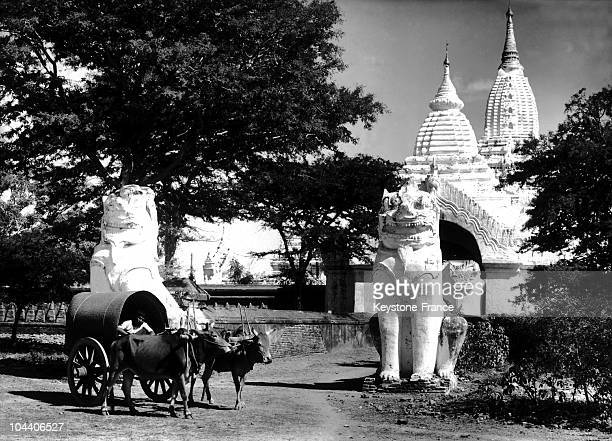 Between 1900 and 1950 a man in an oxdrawn cart passed before two stone colossi representing dragons These two dragons serve as 'guards of the temple'...