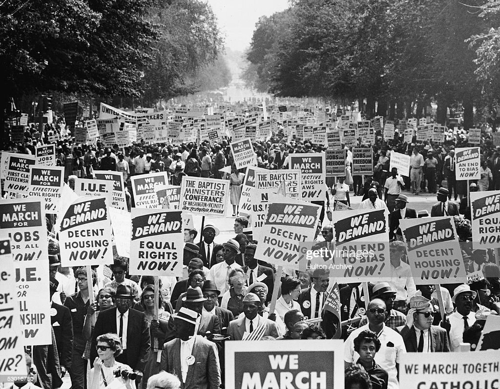 Between 200000 and 500000 demonstrators march down Constituition Avenue during the March on Washington for Jobs and Freedom Washington DC August 28...