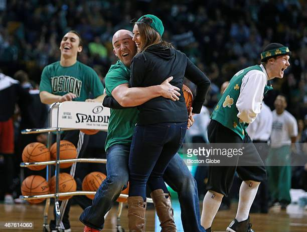 Between the first and second quarter there was an on court promotion called 'Shot in the Dark' where a fan was blindfolded as he stood at the free...