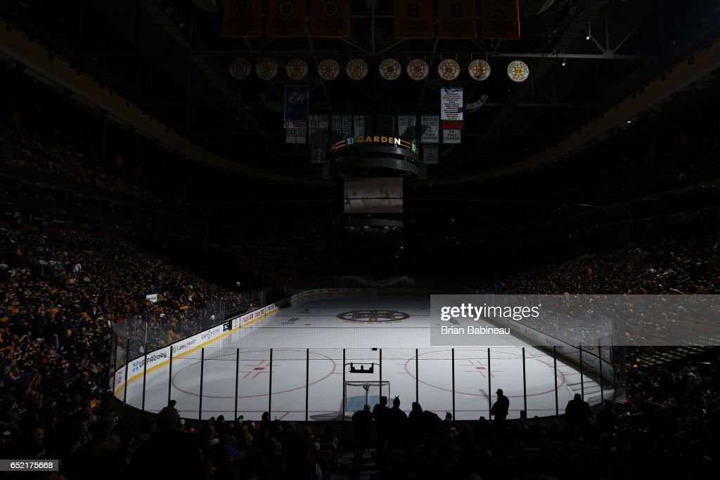 Between the periods of the Boston Bruins against the Philadelphia Flyers at the TD Garden on March 11, 2017 in Boston, Massachusetts.