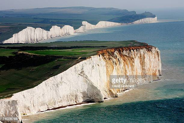Between the towns of Seaford and Eastbourne lies the white chalk cliffs the Seven Sisters in this aerial photo taken on 30th June 2006