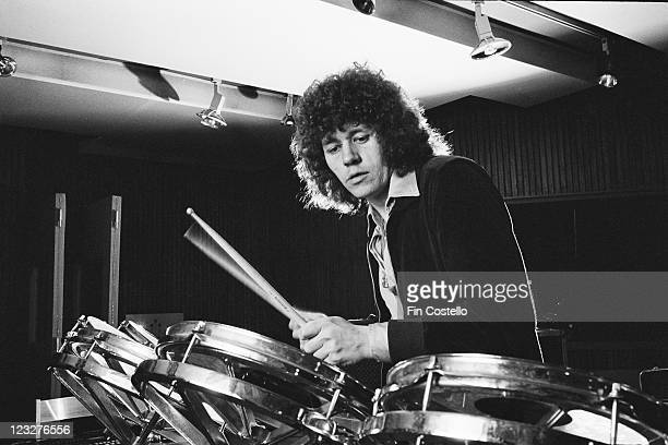 Bev Bevan drummer with British rock group Electric Light Orchestra also known as ELO playing the drums in a studio in Germany circa 1979