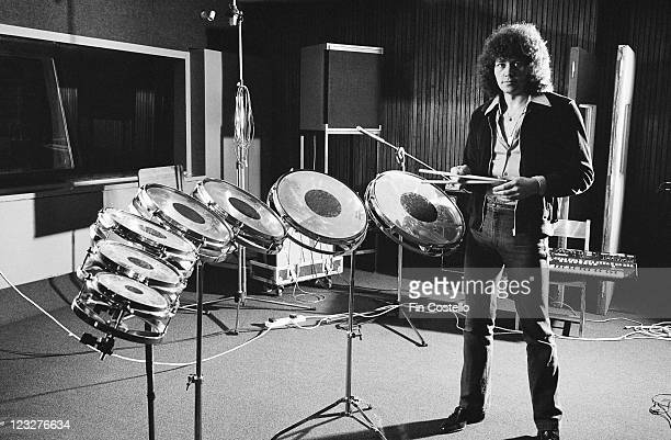 Bev Bevan drummer with British rock group Electric Light Orchestra also known as ELO posing beside a set of drums in a studio in Germany circa 1979