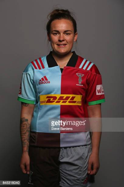 Bev Gilbert of Harlequins Ladies poses for a portrait during the Harlequins Ladies Squad Photo call for the 2017/18 Tyrrells Premier 15s Season at...