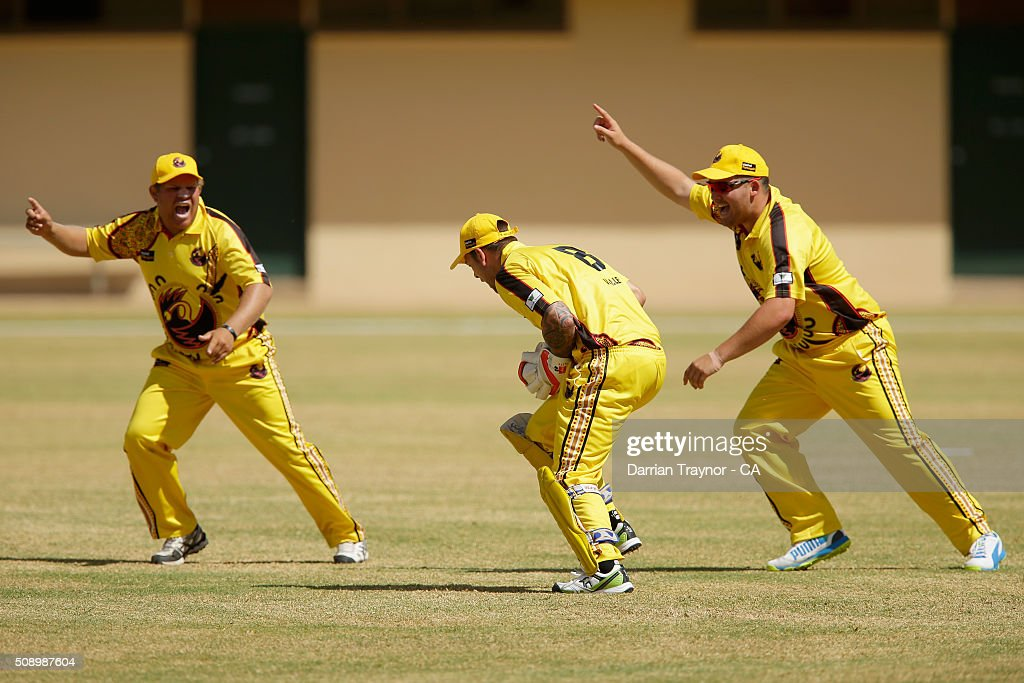 Bevan Bennell and Michael Bailey of Western Australia appeal as team mate Richard Walley takes a catch during the National Indigenous Cricket Championships on February 8, 2016 in Alice Springs, Australia.