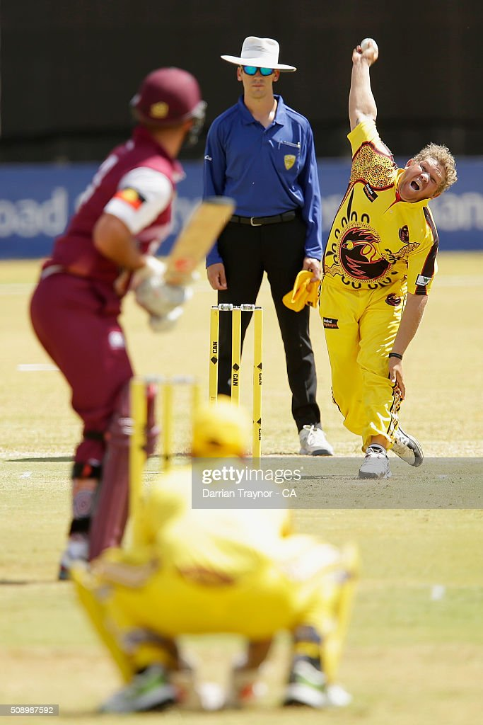 Bevan Bennell of Western Australia bowls to Cameron Trask of Queensland during the National Indigenous Cricket Championships on February 8, 2016 in Alice Springs, Australia.
