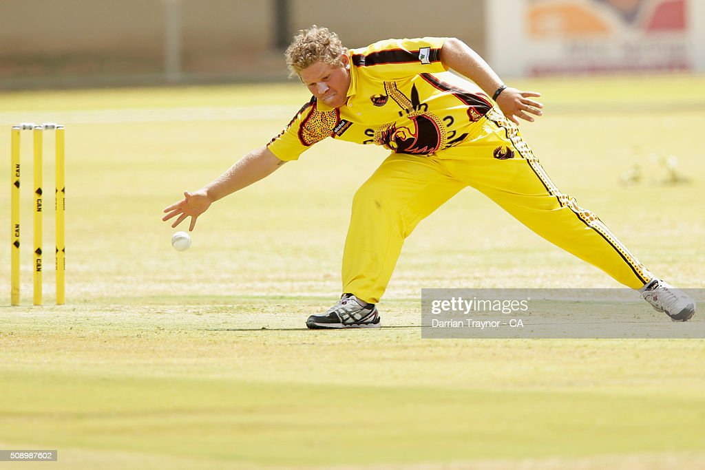 Bevan Bennell of Western Australia does some fielding off his own bowling during the National Indigenous Cricket Championships on February 8, 2016 in Alice Springs, Australia.