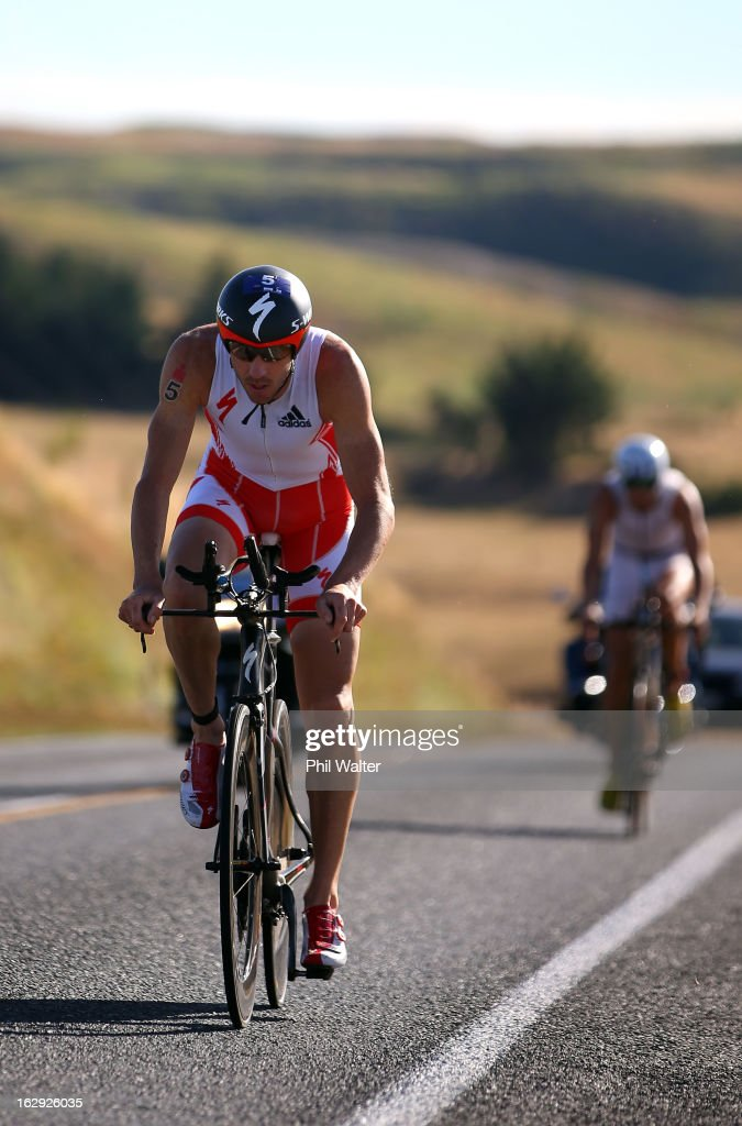 Bevan Docherty of New Zealand cycles during the New Zealand Ironman on March 2, 2013 in Taupo, New Zealand.