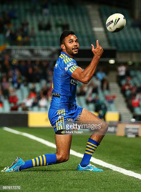 Bevan French of the Eels celebrates one of his tries during the round 25 NRL match between the Parramatta Eels and the St George Illawarra Dragons at...
