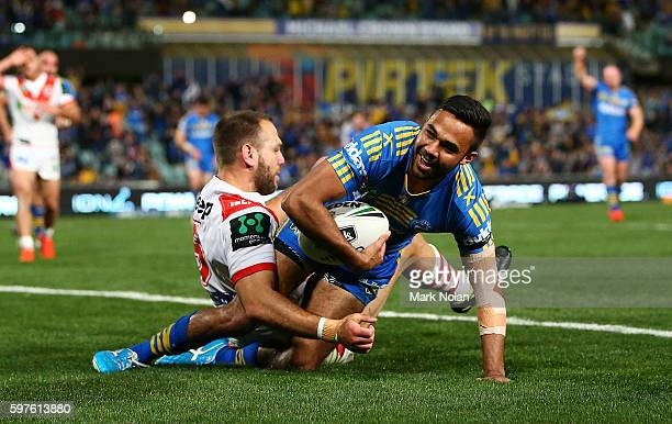 Bevan French of the Eels scores a try during the round 25 NRL match between the Parramatta Eels and the St George Illawarra Dragons at Pirtek Stadium...