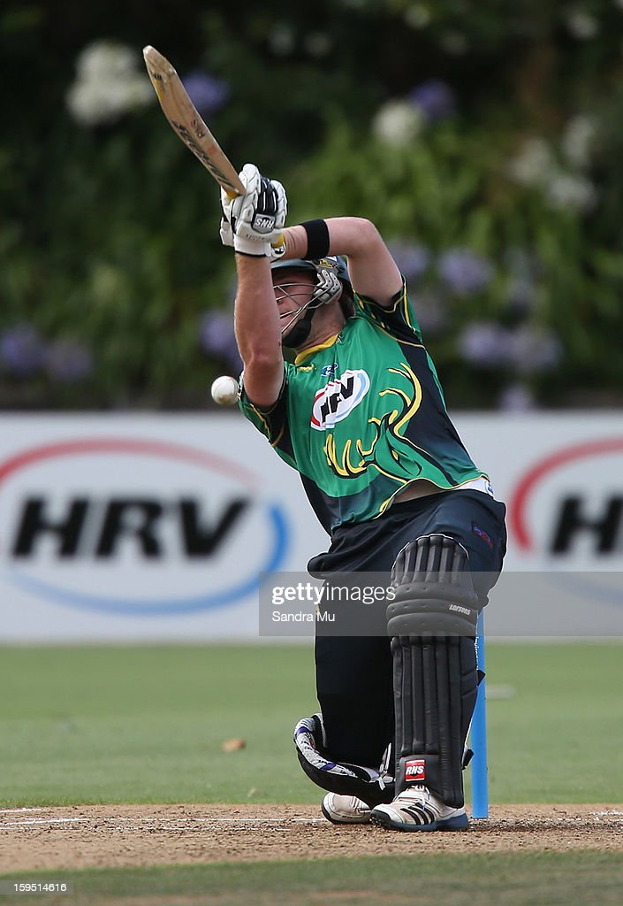 Bevan Small of the Stags bats during the HRV Cup Twenty20 match between the Auckland Aces and the Central Stags at Eden Park on January 15, 2013 in Auckland, New Zealand.