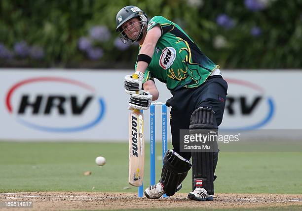 Bevan Small of the Stags bats during the HRV Cup Twenty20 match between the Auckland Aces and the Central Stags at Eden Park on January 15 2013 in...