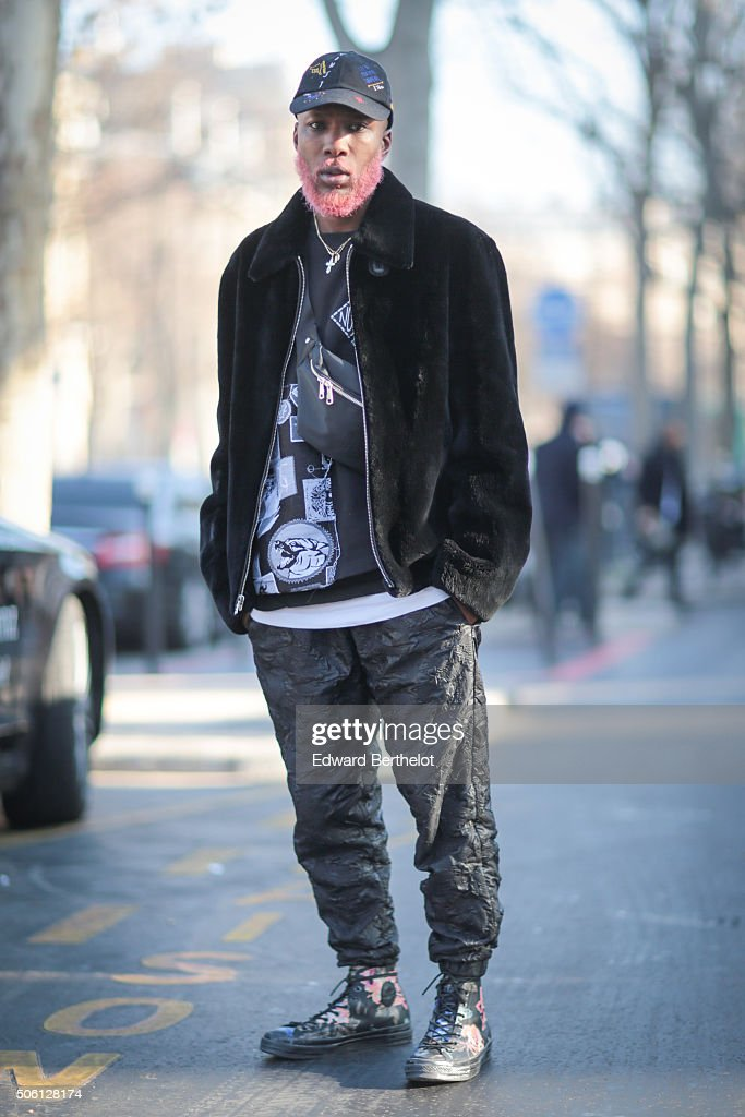 Bevan wearing a Marc Jacobs outfit after the Rick Owens show during Paris Fashion Week Menswear Fall Winter 2016/2017 on January 21, 2016 in Paris, France.