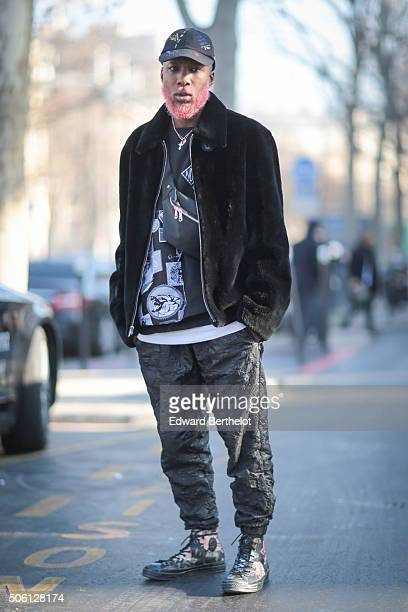 Bevan wearing a Marc Jacobs outfit after the Rick Owens show during Paris Fashion Week Menswear Fall Winter 2016/2017 on January 21 2016 in Paris...