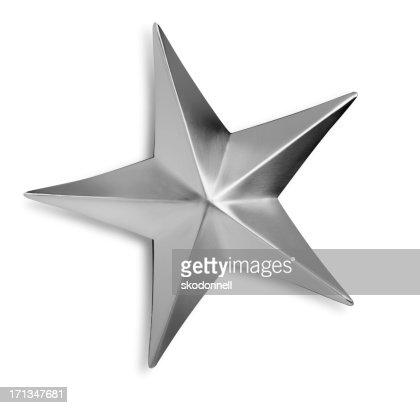 斜めのシルバーメタルの星の白い背景に