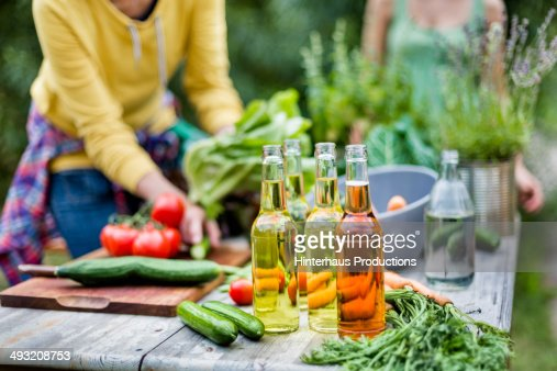 Beverages And Ve able Garden Table Stock
