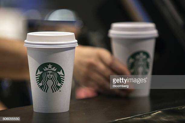 Beverages sit on a counter inside a Starbucks Corp coffee shop in New York US on Monday Jan 18 2016 Starbucks Corp is scheduled to release its...