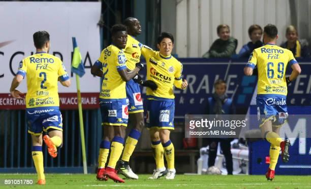 20171208 Beveren Belgium / WaaslandBeveren v Standard de Liege / 'nIbrahima SECK Ryota MORIOKA Celebration'nFootball Jupiler Pro League 2017 2018...