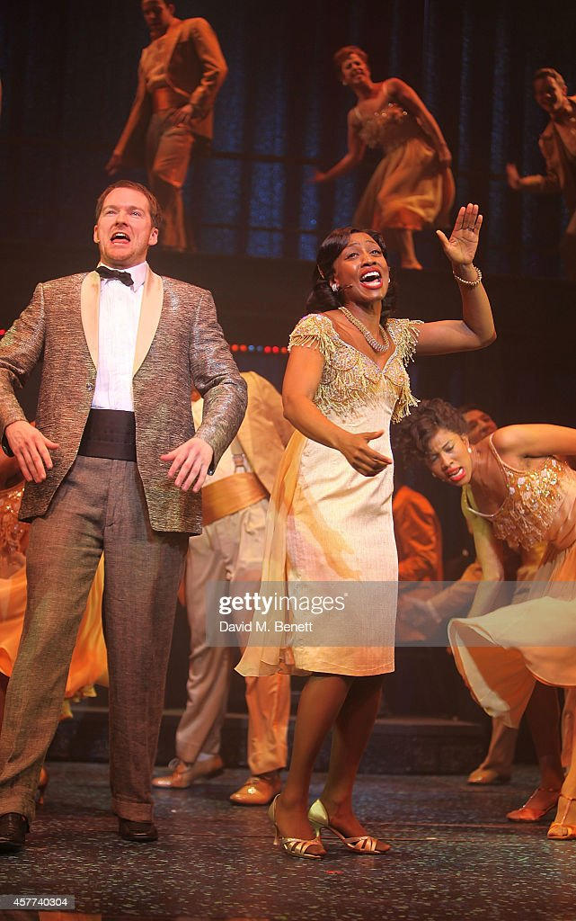 <a gi-track='captionPersonalityLinkClicked' href=/galleries/search?phrase=Beverley+Knight&family=editorial&specificpeople=204569 ng-click='$event.stopPropagation()'>Beverley Knight</a> and Killian Donnelly onstage the curtain call after the press night performance of 'Memphis The Musical' at The Shaftesbury Theatre on October 23, 2014 in London, England.