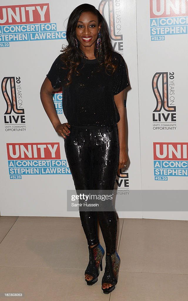 <a gi-track='captionPersonalityLinkClicked' href=/galleries/search?phrase=Beverley+Knight&family=editorial&specificpeople=204569 ng-click='$event.stopPropagation()'>Beverley Knight</a> attends the Unity concert in memory of Stephen Lawrence at O2 Arena on September 29, 2013 in London, England.