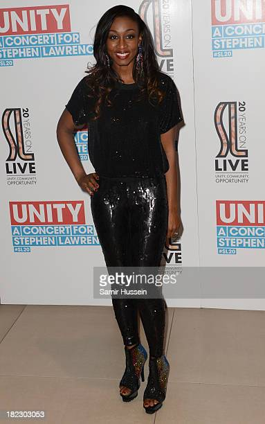 Beverley Knight attends the Unity concert in memory of Stephen Lawrence at O2 Arena on September 29 2013 in London England