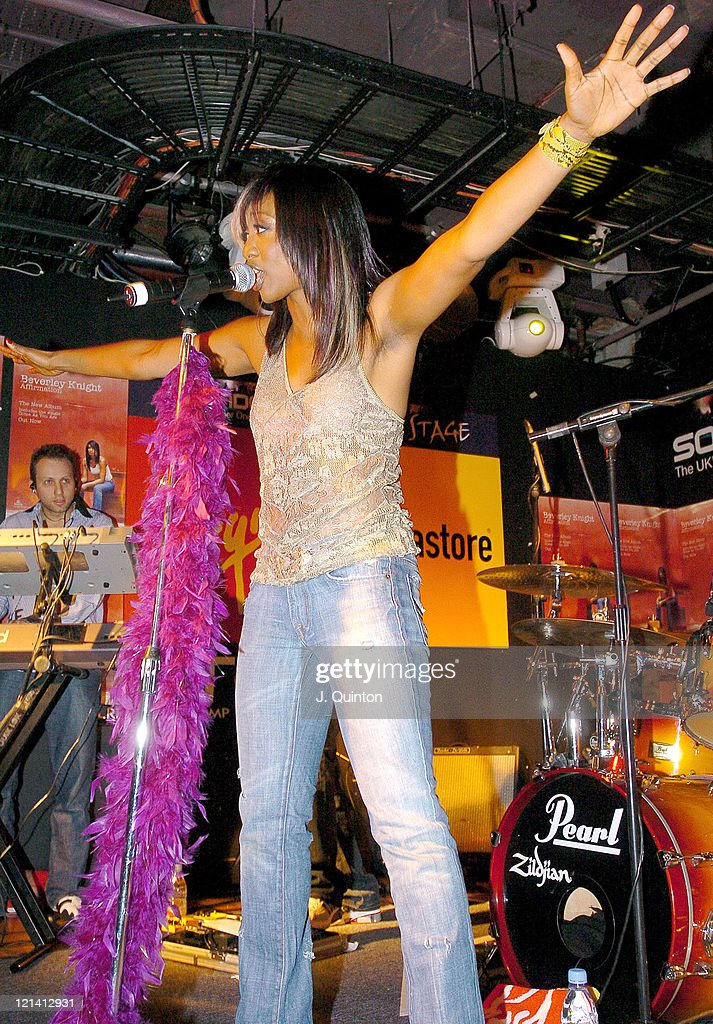 <a gi-track='captionPersonalityLinkClicked' href=/galleries/search?phrase=Beverley+Knight&family=editorial&specificpeople=204569 ng-click='$event.stopPropagation()'>Beverley Knight</a> during <a gi-track='captionPersonalityLinkClicked' href=/galleries/search?phrase=Beverley+Knight&family=editorial&specificpeople=204569 ng-click='$event.stopPropagation()'>Beverley Knight</a> in Store Performance to Promote New Single 'Come as You Are' at Virgin Megastore in London, Great Britain.