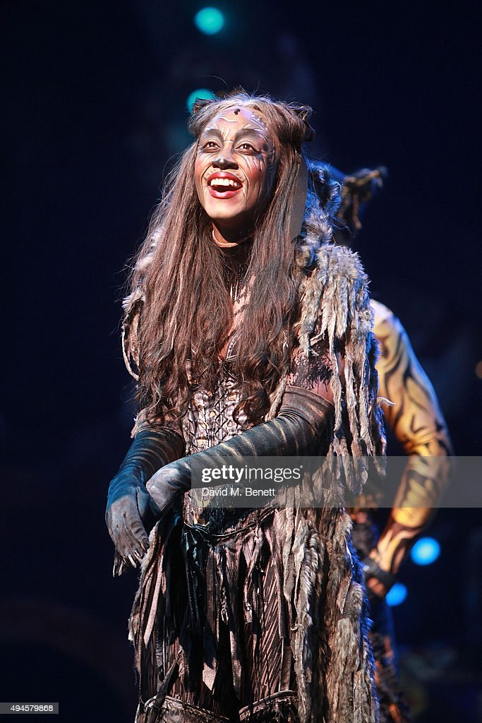 <a gi-track='captionPersonalityLinkClicked' href=/galleries/search?phrase=Beverley+Knight&family=editorial&specificpeople=204569 ng-click='$event.stopPropagation()'>Beverley Knight</a> during the curtain call following the press night performance of 'Cats' at the London Palladium on October 27, 2015 in London, England.
