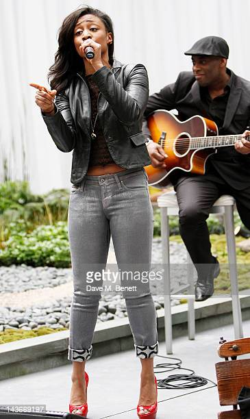 Beverley Knight performs at the HUB Kids Company Mad Hatters silent auction at the Sanderson Hotel on May 2 2012 in London England
