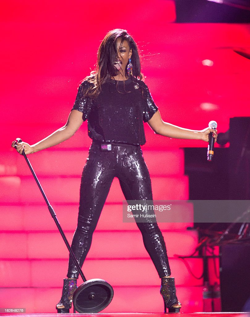 <a gi-track='captionPersonalityLinkClicked' href=/galleries/search?phrase=Beverley+Knight&family=editorial&specificpeople=204569 ng-click='$event.stopPropagation()'>Beverley Knight</a> performs live on stage at the Unity concert in memory of Stephen Lawrence at O2 Arena on September 29, 2013 in London, England.