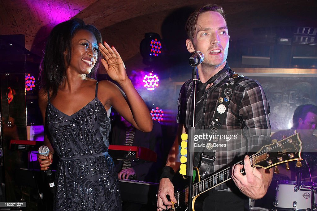 Beverley Knight sings with The Feeling during their perform at The 50th Birthday Celebration of Annabel's Nightclub on September 27, 2013 in London, England.