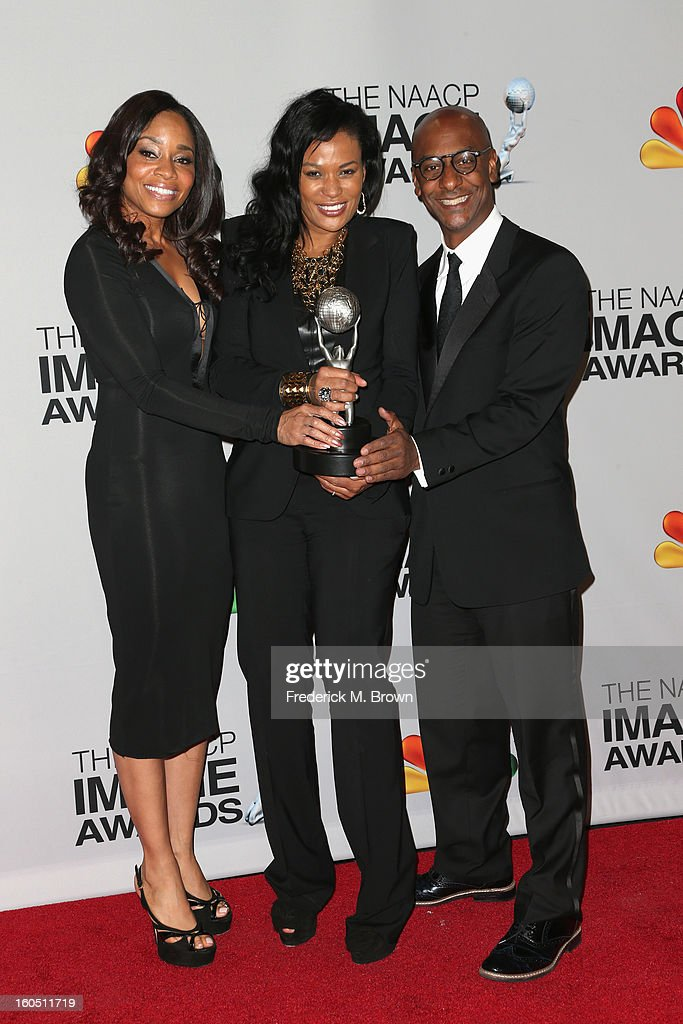 DJ Beverly Bond, , Vice President of Original Programming for BET, Connie Orlando, and President of Music Programming and Specials at BET Networks Stephen Hill pose in the press room during the 44th NAACP Image Awards at The Shrine Auditorium on February 1, 2013 in Los Angeles, California.