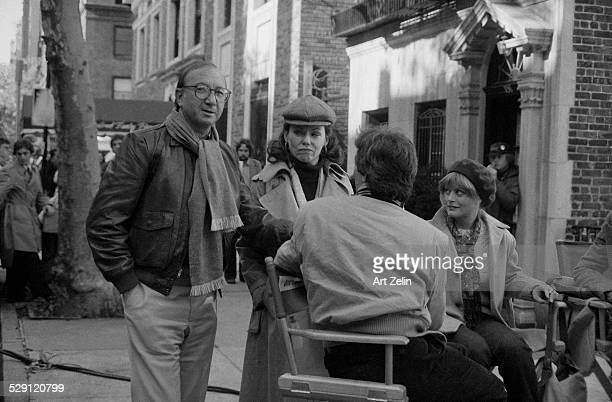 Beverly D'Angelo talking with Marsha Mason and Neil Simon on set circa 1970 New York