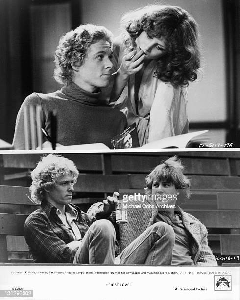 Beverly D'Angelo tries to distract William Katt from his books while he talks with John Heard about love and romance in a scene from the film 'First...