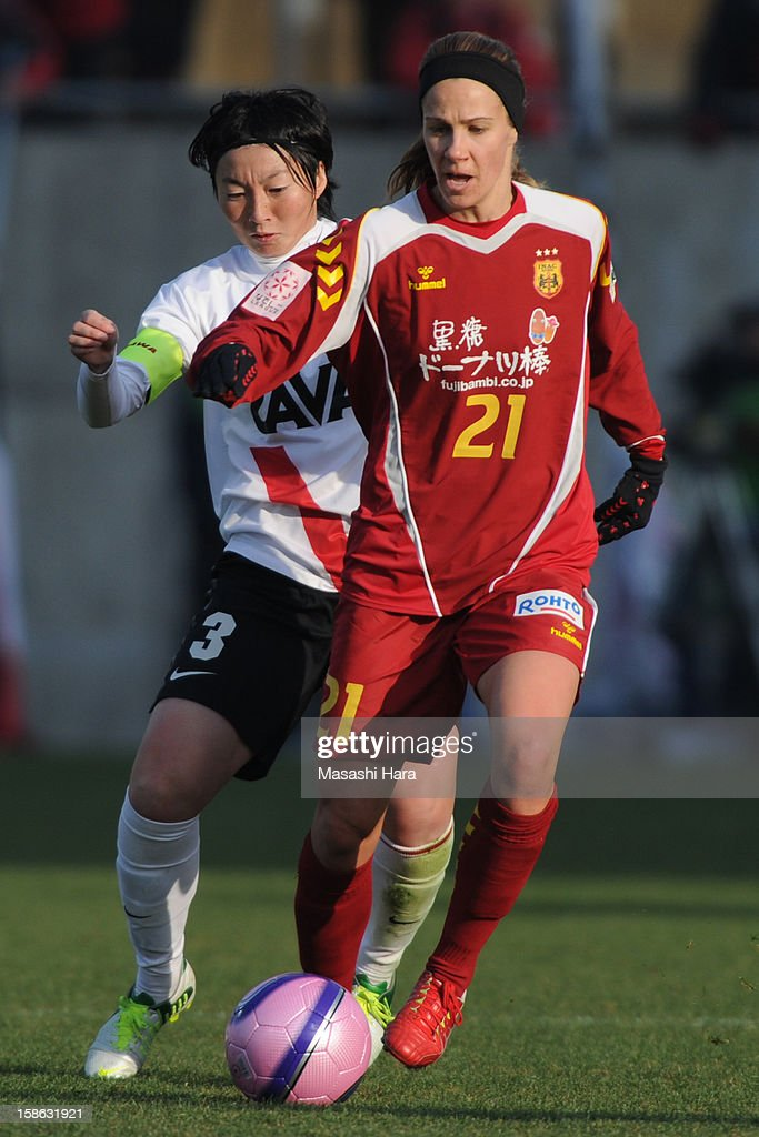 Beverly Goebel-Yanez #21 of INAC Kobe Leonessa in action during the 34th Empress's Cup All Japan Women's Football Tournament semi final match between INAC Kobe Leonessa and Urawa Red Diamonds Ladies at Nack 5 Stadium Omiya on December 22, 2012 in Saitama, Japan.