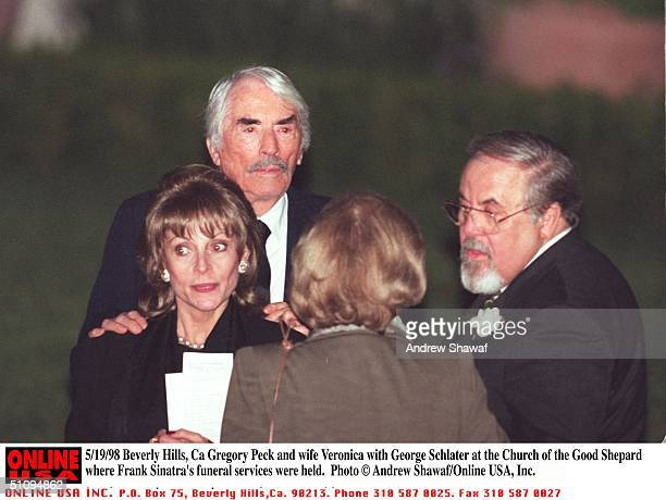 Beverly Hills Ca Gregory Peck And Wife Veronica With George Schlater At The Church Of The Good Shepard Where Frank Sinatra's Funeral Was Held