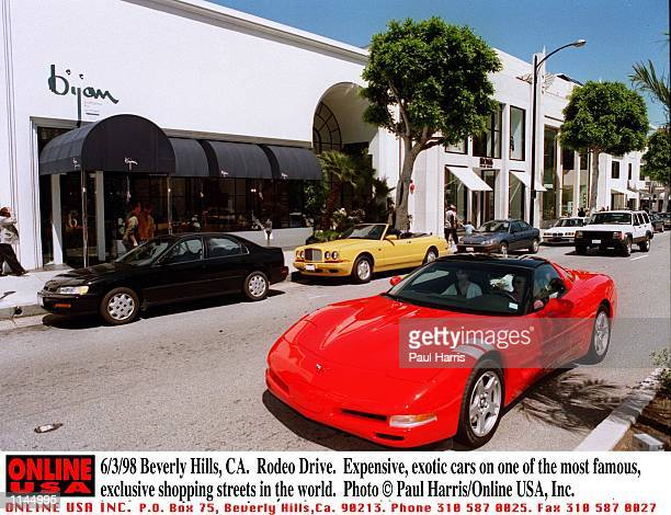 Beverly Hills CA Rodeo Drive Expensive exotic cars on one of the most famous exclusive shopping streets in the world