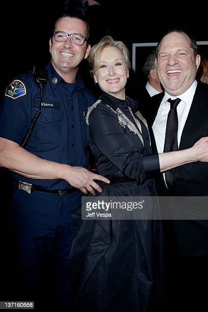 Beverly Hills Fire Captain Dean Viana actress Meryl Streep and producer Harvey Weinstein attend The Weinstein Company's 2012 Golden Globe Awards...