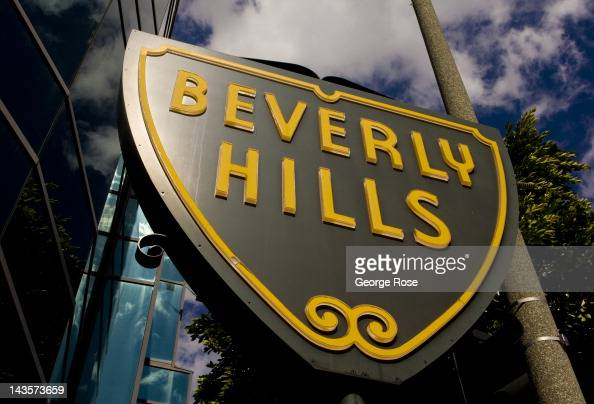 Beverly Hills sign greets visitors on Santa Monica Blvd on April 14 2012 in Beverly Hills California Millions of tourists flock to the Los Angeles...