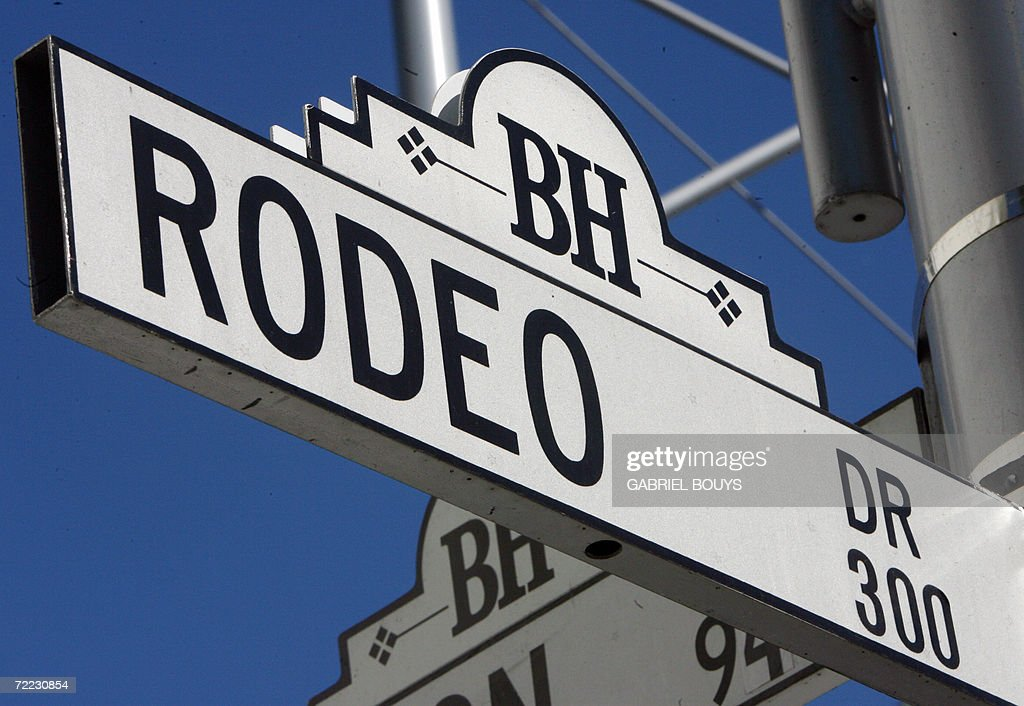 A Rodeo Drive sign is seen 20 October 2006 in Beverly Hills California The Los Angeles Times reported that a large block of Rodeo Drive a byword for...