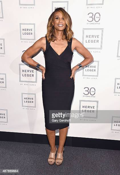 Beverly Johnson poses backstage prior to the Herve Leger fashion show during Spring 2016 New York Fashion Week at The Arc Skylight at Moynihan...